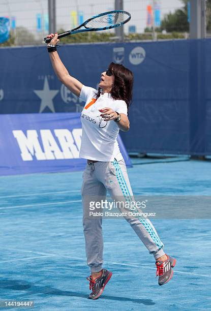 Nadia Comaneci five time Olympic champion in gymnastics attends 'Pasa La Red' project presentation by Laureus Spain Foundation at Caja Magica on May...