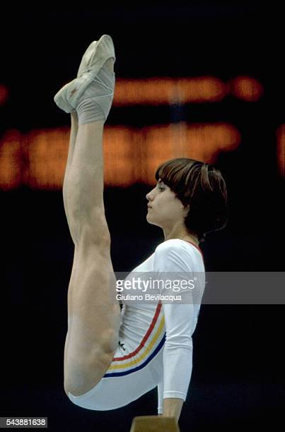 Nadia Comaneci from Romania during her routine on balance beam at the 1980 Olympic Games