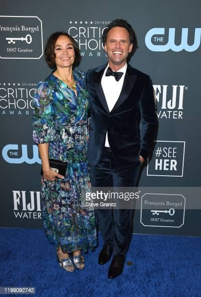 Nadia Conners and Walton Goggins attend the 25th Annual Critics' Choice Awards at Barker Hangar on January 12, 2020 in Santa Monica, California.