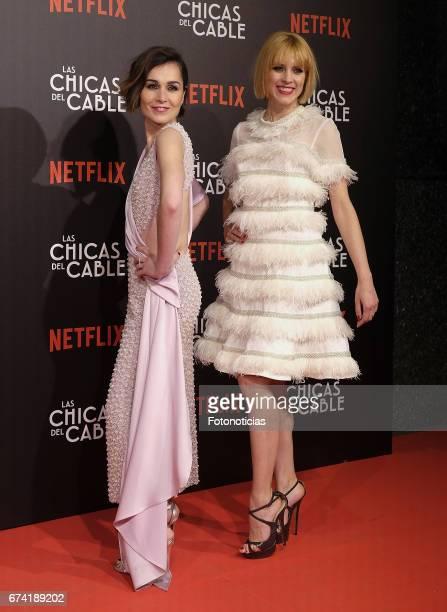 Nadia de Santiago and Maggie Civantos attend the 'Las Chicas del Cable' Netflix Tv Series premiere at Callao Cinema on April 27 2017 in Madrid Spain