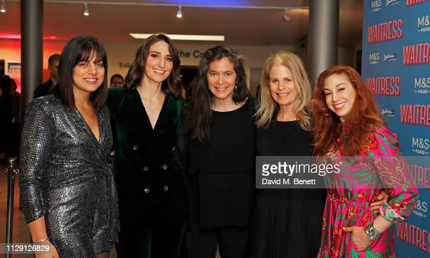 Nadia DiGiallonardo Sara Bareilles Diane Paulus Jessie Nelson and Lorin Latarro attend the press night after party for 'Waitress The Musical' at Cafe...