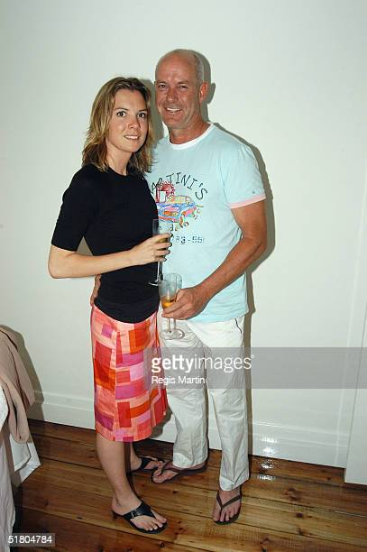Nadia Dyall and partner Australian actor Gary Sweet pose at the opening of Cocoon Day Spa on November 30 2004 in Melbourne Australia