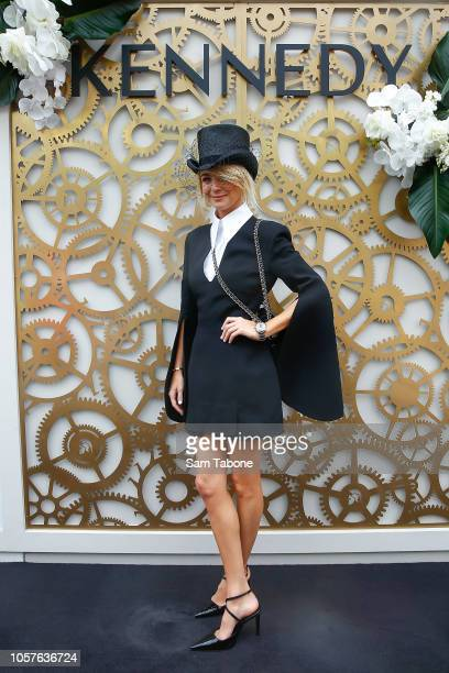 Nadia Fairfax poses at the Kennedy Marquee on Derby Day at Flemington Racecourse on November 3 2018 in Melbourne Australia