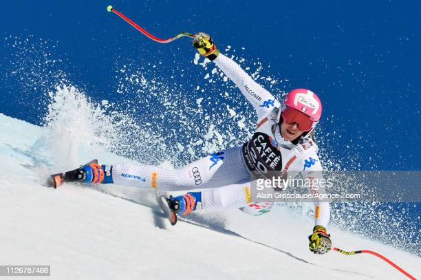 Nadia Fanchini of Italy competes during the Audi FIS Alpine Ski World Cup Women's Downhill on February 23, 2019 in Crans Montana Switzerland.