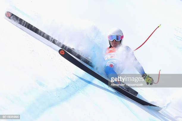 Nadia Fanchini of Italy crashes during the Ladies' Downhill on day 12 of the PyeongChang 2018 Winter Olympic Games at Jeongseon Alpine Centre on...