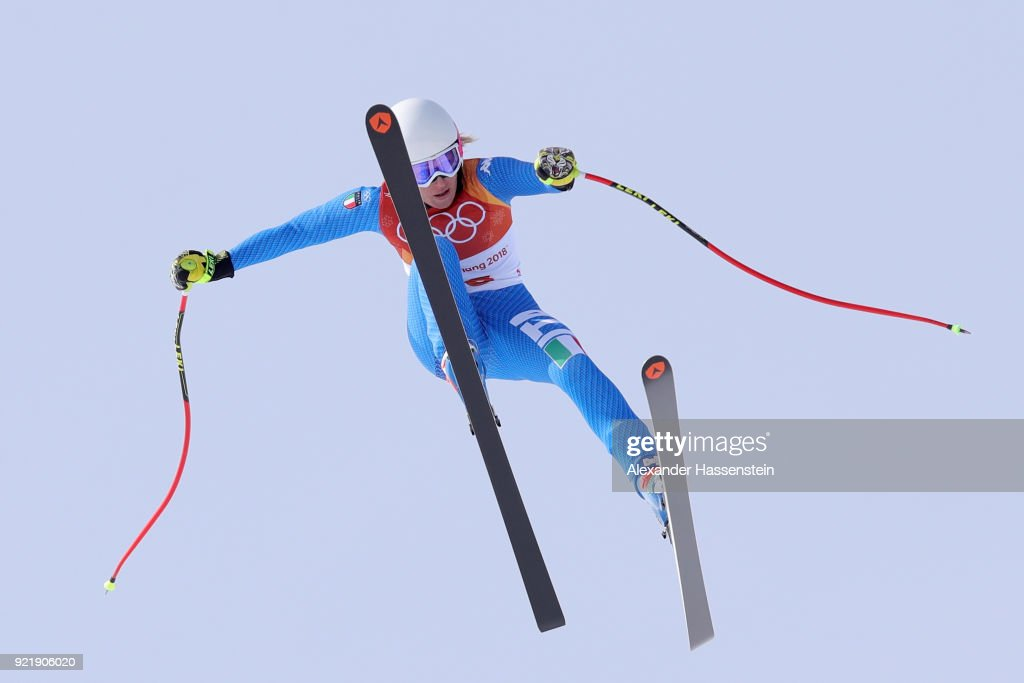 Nadia Fanchini of Italy crashes during the Ladies' Downhill on day 12 of the PyeongChang 2018 Winter Olympic Games at Jeongseon Alpine Centre on February 21, 2018 in Pyeongchang-gun, South Korea.