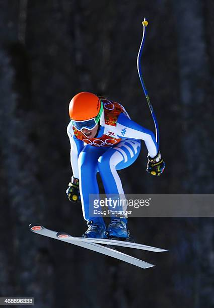 Nadia Fanchini of Italy skis during the Alpine Skiing Women's Downhill on day 5 of the Sochi 2014 Winter Olympics at Rosa Khutor Alpine Center on...