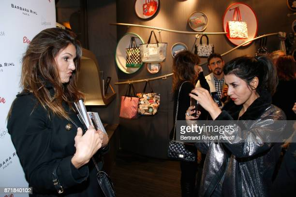 Nadia Fares and Reem Kherici attend Reem Kherici signs her book 'Diva' at the Barbara Rihl Boutique on November 8 2017 in Paris France