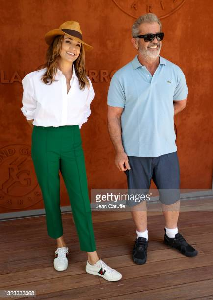 Nadia Fares, Mel Gibson attend the Men's Singles Final during day 15 of the 2021 Roland-Garros, French Open, a Grand Slam tennis tournament at...
