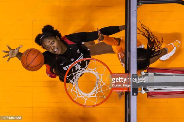 Nadia Fingall of the Stanford Cardinal gets a rebound during the game between the Stanford Cardinals and the Tennessee Lady Volunteers at...