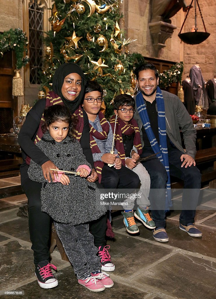 Nadia Hussain, husband Abdal and children attend the Launch Of Hogwarts In The Snow at Warner Bros. Studio Tour London on November 12, 2015 in Watford, England.