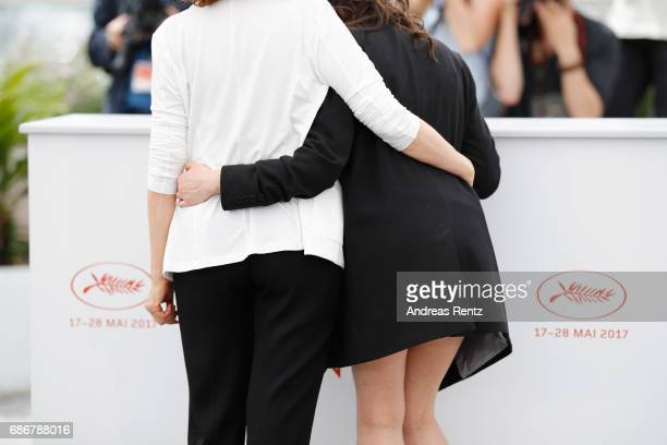 Nadia Kaci and Hania Amar attend the 'Waiting For Swallows ' photocall during the 70th annual Cannes Film Festival at Palais des Festivals on May 22...