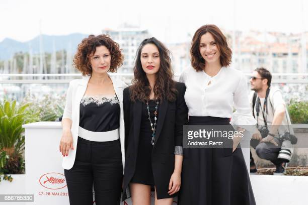 Nadia Kaci Aure Atika and Hania Amar attend the 'Waiting For Swallows ' photocall during the 70th annual Cannes Film Festival at Palais des Festivals...