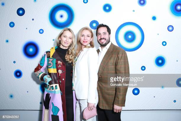 Nadia Kazakova, Alina Okshteyn and Ricardo Fernandez during the Ricardo Chavarria by Art Gallery NYC and Overseas Premier Entertainment Corp. On...