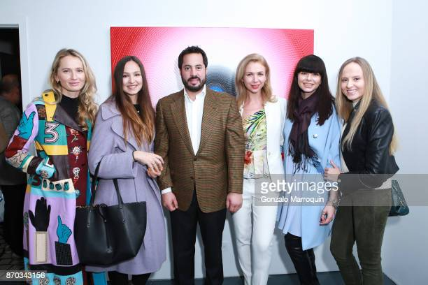 Nadia Kazakova, Jane, Ricardo Fernandez, Alina Okshteyn, Olga Kandaur and Maria during the Ricardo Chavarria by Art Gallery NYC and Overseas Premier...