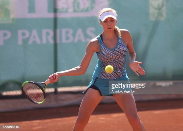 Nadia Kichenok of Ukraine in action against during the TEB BNP Paribas Istanbul Cup women's couple tennis match between Ipek Soylu of Turkey SuWei...