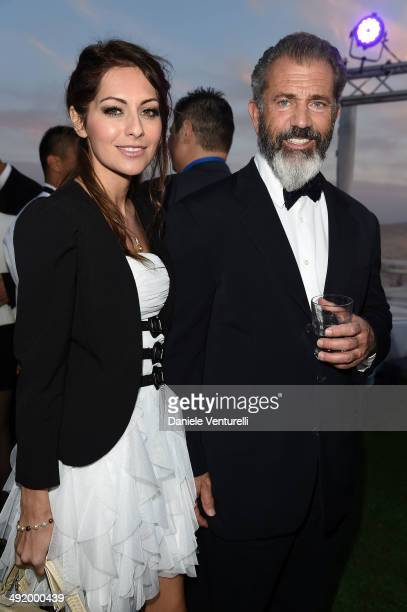 Nadia Lanfranconi and Mel Gibson attend the Expendables 3 Dinner and Party sponsored by MATCHLESS on May 18, 2014 in Cannes, France.