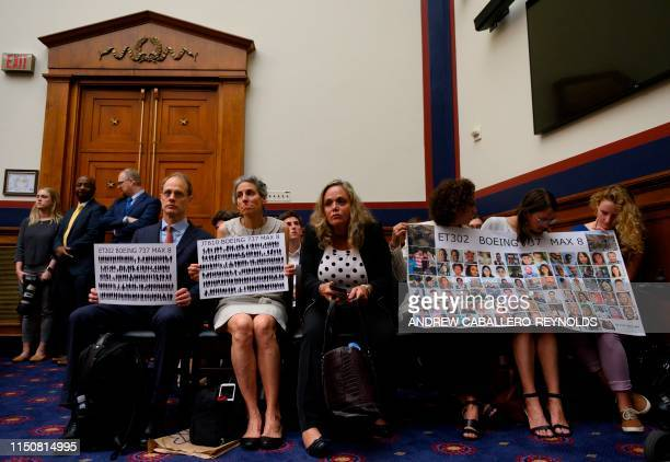 Nadia Milleron and Michael Stumo the parents of Samya Stumo who was killed in the crash of Ethiopian Airlines Flight 302 look on during an aviation...