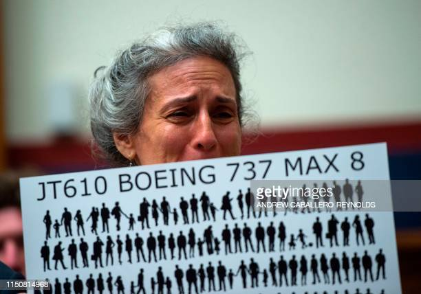 TOPSHOT Nadia Milleron the mother of Samya Stumo who was killed in the crash of Ethiopian Airlines Flight 302 reacts before an aviation subcommittee...
