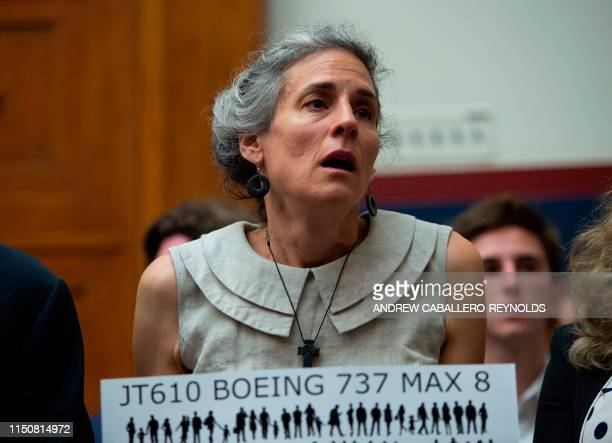 Nadia Milleron the mother of Samya Stumo who was killed in the crash of Ethiopian Airlines Flight 302 reacts before an aviation subcommittee hearing...