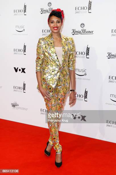 Nadia Mladjao attends the Echo award red carpet on April 6 2017 in Berlin Germany