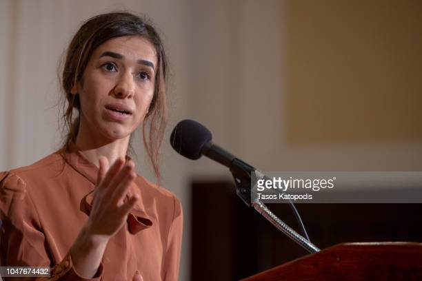 Nadia Murad a 24yearold Yazidi woman and corecipient of the 2018 Nobel Peace Prize speaks at the National Press Club on October 8 2018 in Washington...