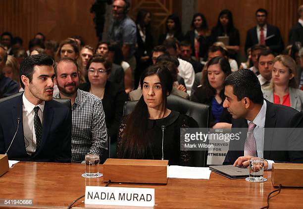 Nadia Murad human rights activist testifies during Senate Homeland Security and Governmental Affairs Committee hearing on Capitol Hill June 21 2016...