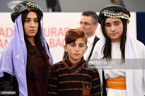Nadia Murad Lamia Haji Bashar and her brother Vad public advocates for the Yazidi community in Iraq and survivors of sexual enslavement by the...
