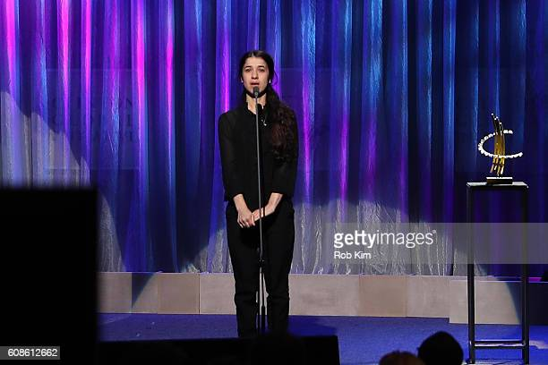 Nadia Murad speaks at the 10th Annual Clinton Global Citizen Awards at Sheraton New York Times Square on September 19 2016 in New York City
