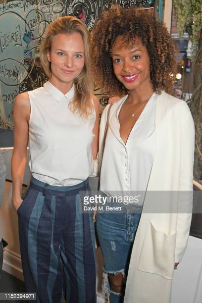Nadia Murgasova and Susan Gossage Chardy attend an intimate dinner at The Maddox Gallery in celebration of American Artist Brendan Murphy's debut UK...