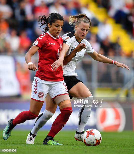 Nadia Nadim of Denmark and Virginia Kirchberger of Austria during the UEFA Women's EURO 2017 Semifinal match between Austria and Denmark at Rat...