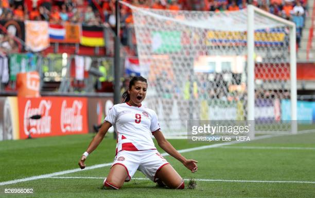 Nadia Nadim of Denmark celebrates after scoring her team's first goal of the game during the Final of the UEFA Women's Euro 2017 between Netherlands...