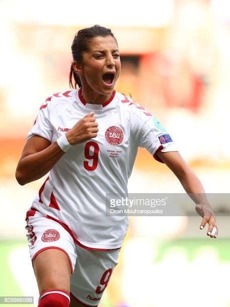 Nadia Nadim of Denmark celebrates scoring her sides first goal during the Final of the UEFA Women's Euro 2017 between Netherlands v Denmark at FC...