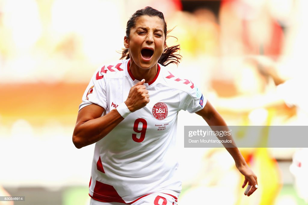 Nadia Nadim of Denmark celebrates scoring her sides first goal during the Final of the UEFA Women's Euro 2017 between Netherlands v Denmark at FC Twente Stadium on August 6, 2017 in Enschede, Netherlands.