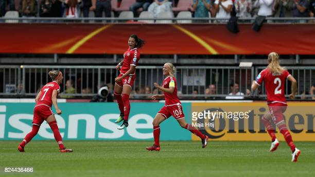 Nadia Nadim of Denmark celebrates scoring her sides first goal with her Denmark team mates during the UEFA Women's Euro 2017 Quarter Final match...