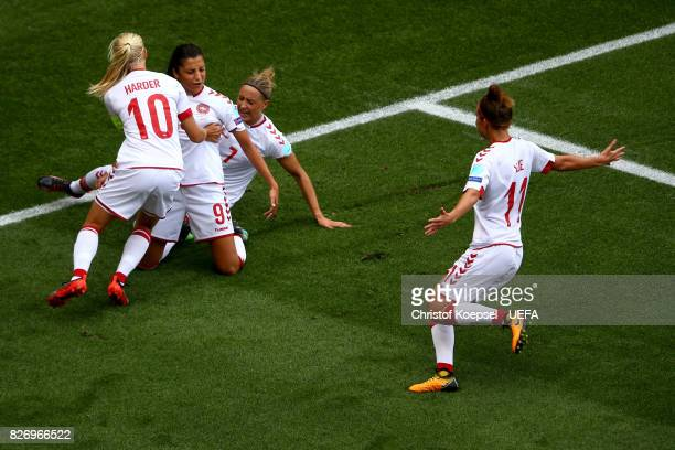 Nadia Nadim of Denmark celebrates the first goal with Pernille Harder and Sanne Troelsgaard of Denmark #2nd Rduring the UEFA Women's Euro 2017 Final...