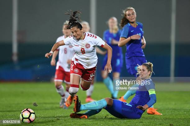 Nadia Nadim of Denmark competes for the ball with Kelly Zeeman of Holland during the Women's Algarve Cup Tournament match between Denmark and Holland...