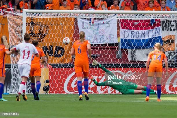 Nadia Nadim of Denmark scores a goal during the UEFA Women's Euro 2017 final match between Denmark and Netherlands at De Grolsch Veste Stadium on...