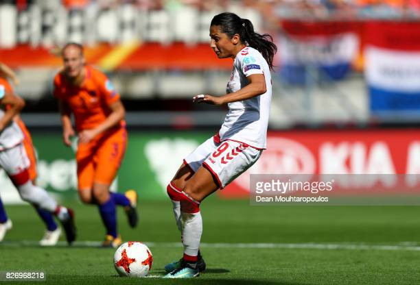 Nadia Nadim of Denmark scores her sides first goal from the penalty spot during the Final of the UEFA Women's Euro 2017 between Netherlands v Denmark...