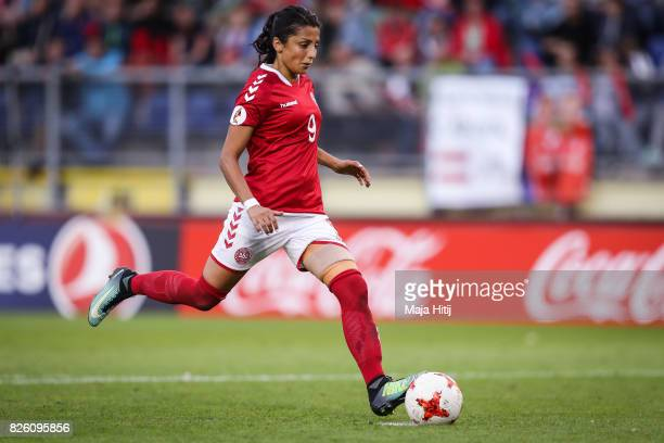 Nadia Nadim of Denmark takes her penalty during the UEFA Women's Euro 2017 Semi Final match between Denmark and Austria at Rat Verlegh Stadion on...