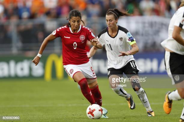 Nadia Nadim of Denmark Viktoria Schnaderbeck of Austria women during the UEFA WEURO 2017 semifinal match between Denmark and Austria at the Rat...