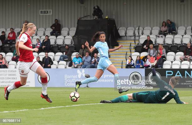 Nadia Nadim of Man City scores the opening goal during the Womens Super League match between Arsenal Ladies and Manchester City Women at Meadow Park...