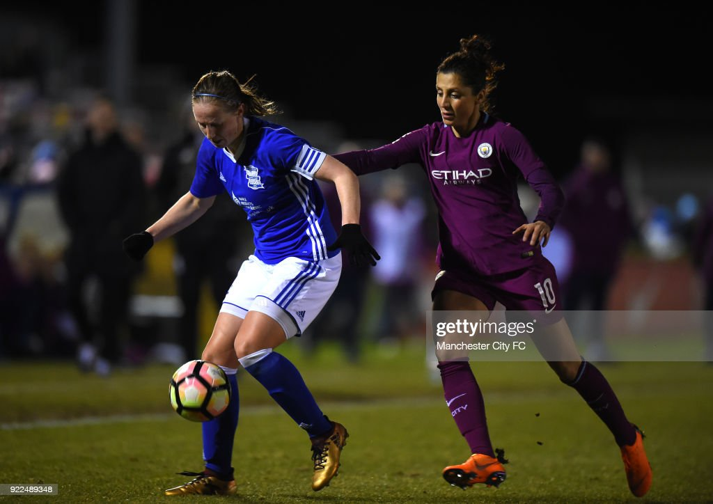 Nadia Nadim of Manchester City Women challenges Kerys Harrop of Birmingham City Ladies during the WSL match between Birmingham City Ladies and Manchester City Women at Damson Park on February 21, 2018 in Solihull, England.