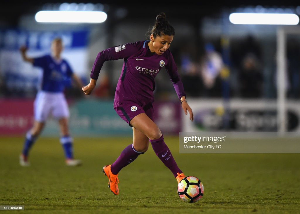 Nadia Nadim of Manchester City Women during the WSL match between Birmingham City Ladies and Manchester City Women at Damson Park on February 21, 2018 in Solihull, England.