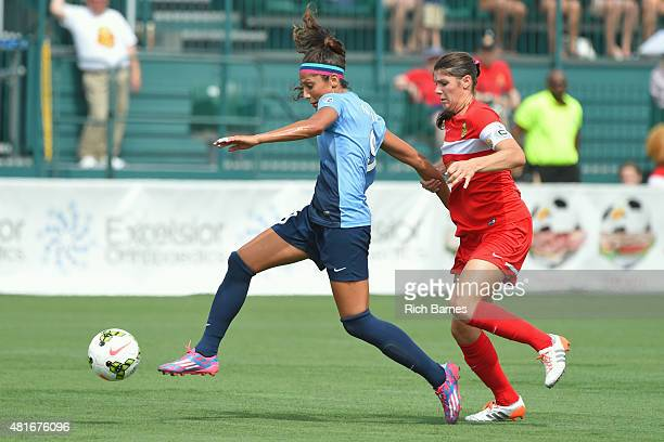 Nadia Nadim of the Sky Blue FC controls the ball against the defense of Brittany Taylor of the Western New York Flash during the first half at...