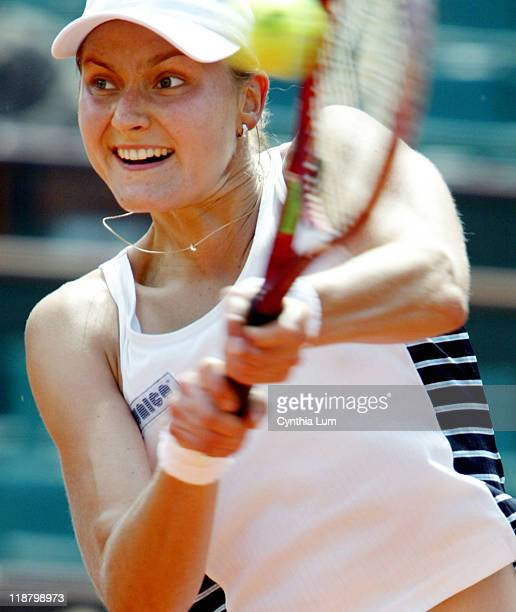 Nadia Petrova beats Vera Zvonareva 6-1, 4-6, 6-3 at the French Open Tennis Championships at the Roland Garros Stadium