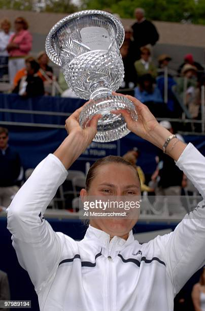Nadia Petrova holds the trophy defeating Francesca Schiavone in the final of the 2006 WTA Bausch Lomb Championship at Amelia Island Plantation...