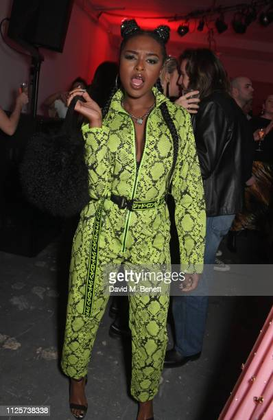 Nadia Rose attends the LOVE x The Store X party celebrating LOVE issue 21 supported by Perrier Jouet at The Store X on February 18 2019 in London...