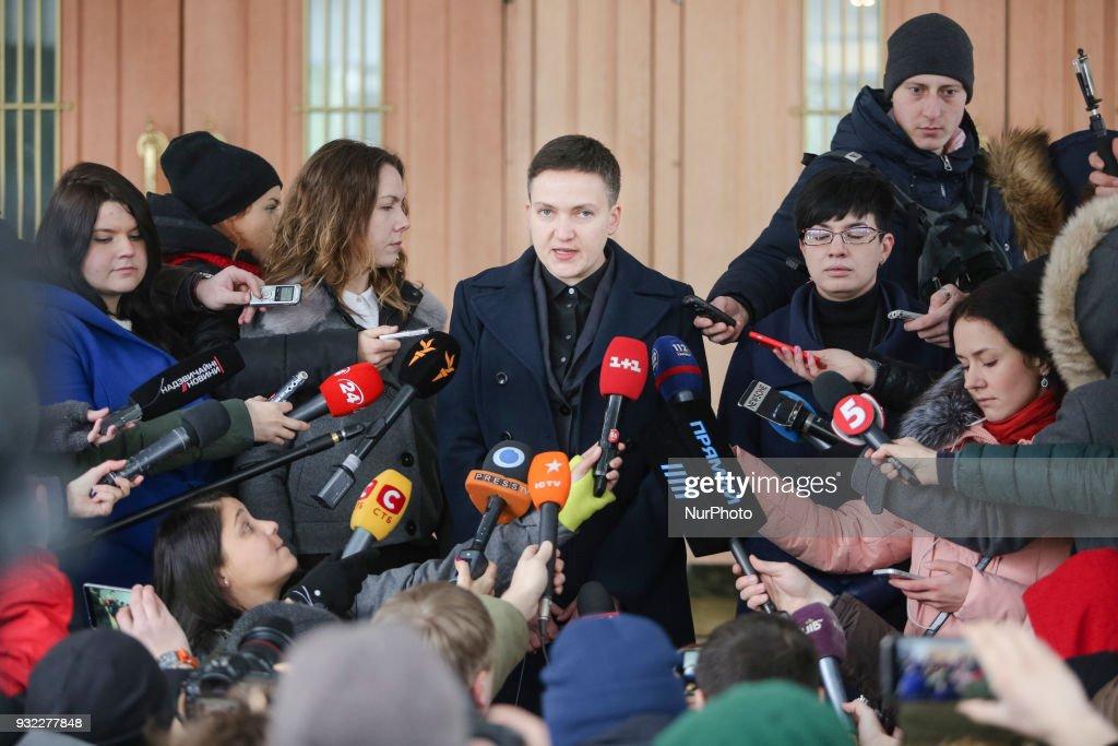 Nadia Savchenko arrives to SSU in Kiev : News Photo