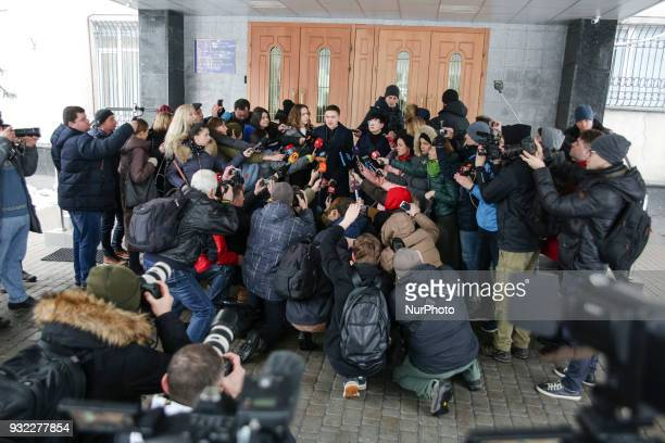 MP Nadia Savchenko talks to media representatives before the questioning at Security Service of Ukraine in Kyiv Ukraine March 15 2018 Security...
